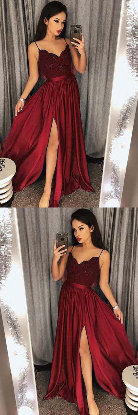 Green Prom Dresses,Burgundy Evening Gowns,Simple Formal Dresses,Prom ...