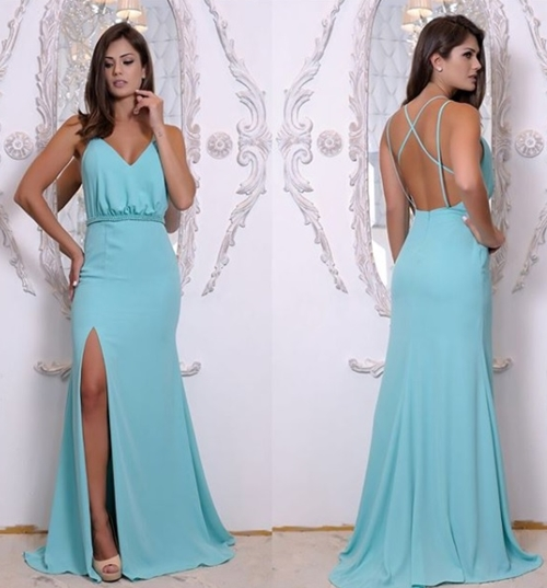 Ice Blue V Neck Formal Evening Gown Open Back Long Party Dress Side ...