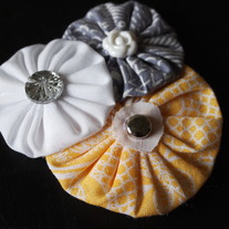 Grey and Yellow Yoyo Cluster with Bling