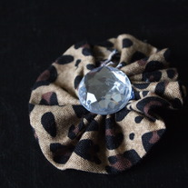 Leopard Fabric Flower Clip
