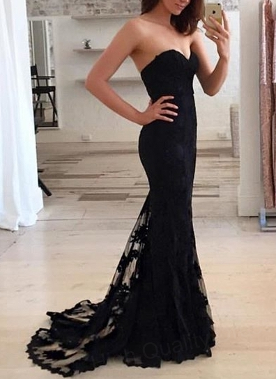 Black Lace Evening Dress Mermaid Sweetheart Appliques Floor Length