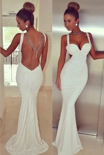 White Backless Dresses