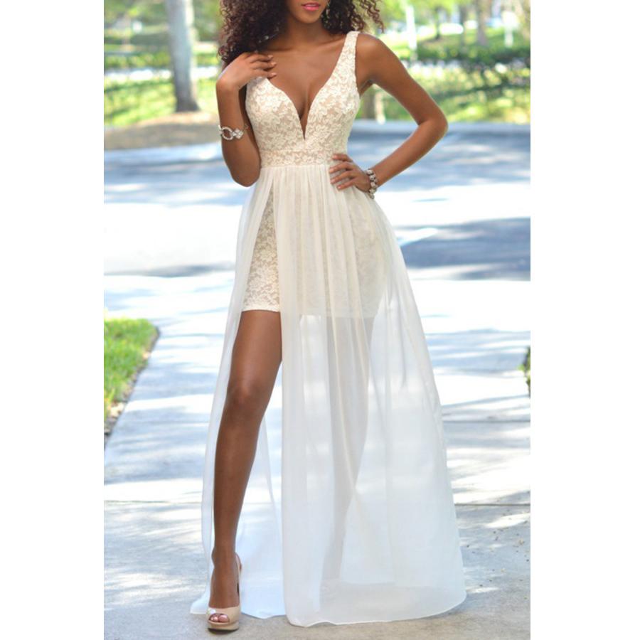 2018 High Quality A-Line Prom Dresses,V-Neck Lace Chiffon Evening ...