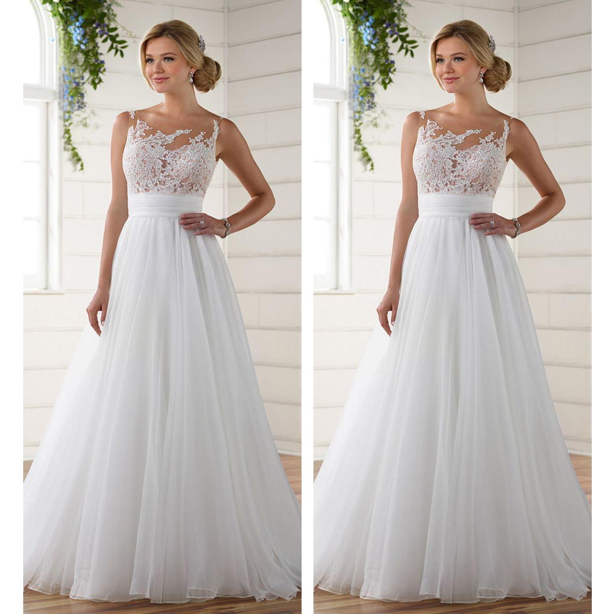 2018 Vintage Lace Wedding Dress Sheer Scoop Neck Chiffon Floor ...