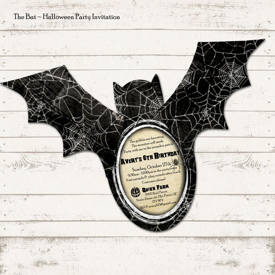 Valerie Pullam Designs | Halloween Party Invitation - Bat Shape ...