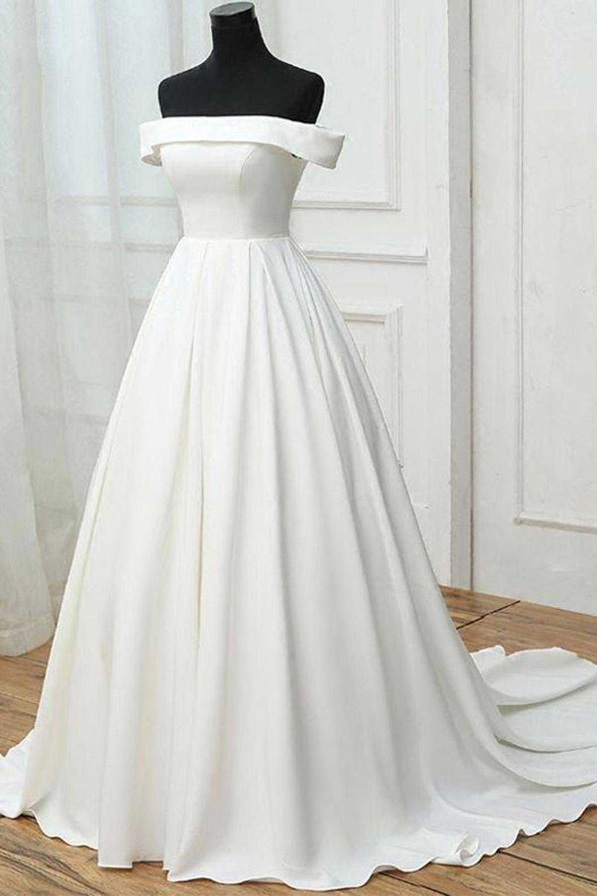 Simple Off Shoulder White Dresses