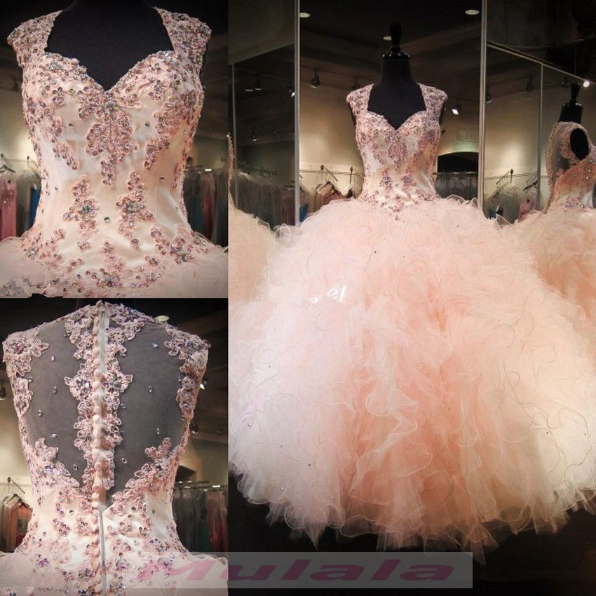 Blush Pink Ball Gown Quinceanera Dress 2018 Lace Appliques Long Sweet 16  Dress Puffy Ruffles Party Gowns For Girls from promyan