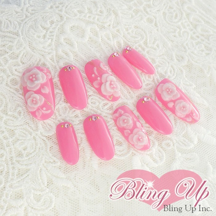 Bling Up Inc Hot Pink Gel Nail With 3d Roses Nail Art Online
