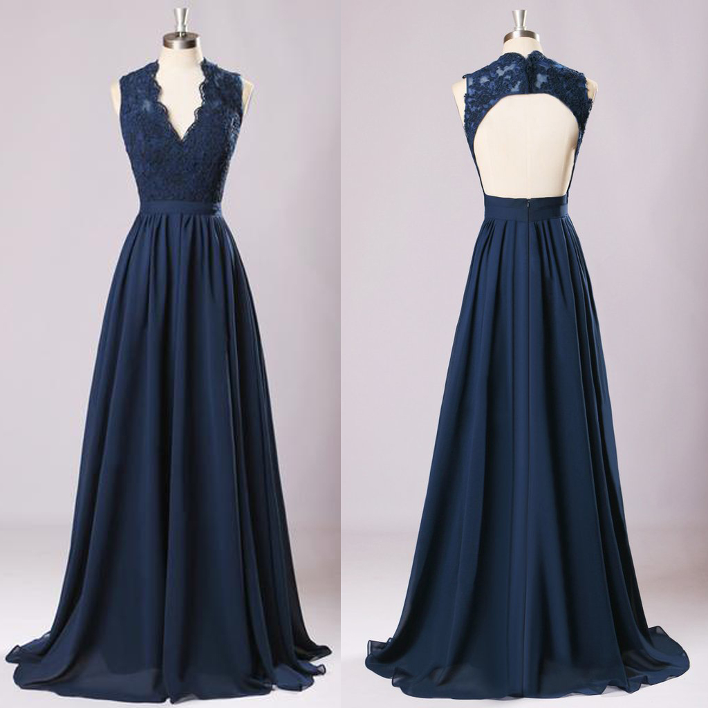 New Long Bridesmaid Dresses Navy Blue Chiffon Wedding Party Gown,off ...