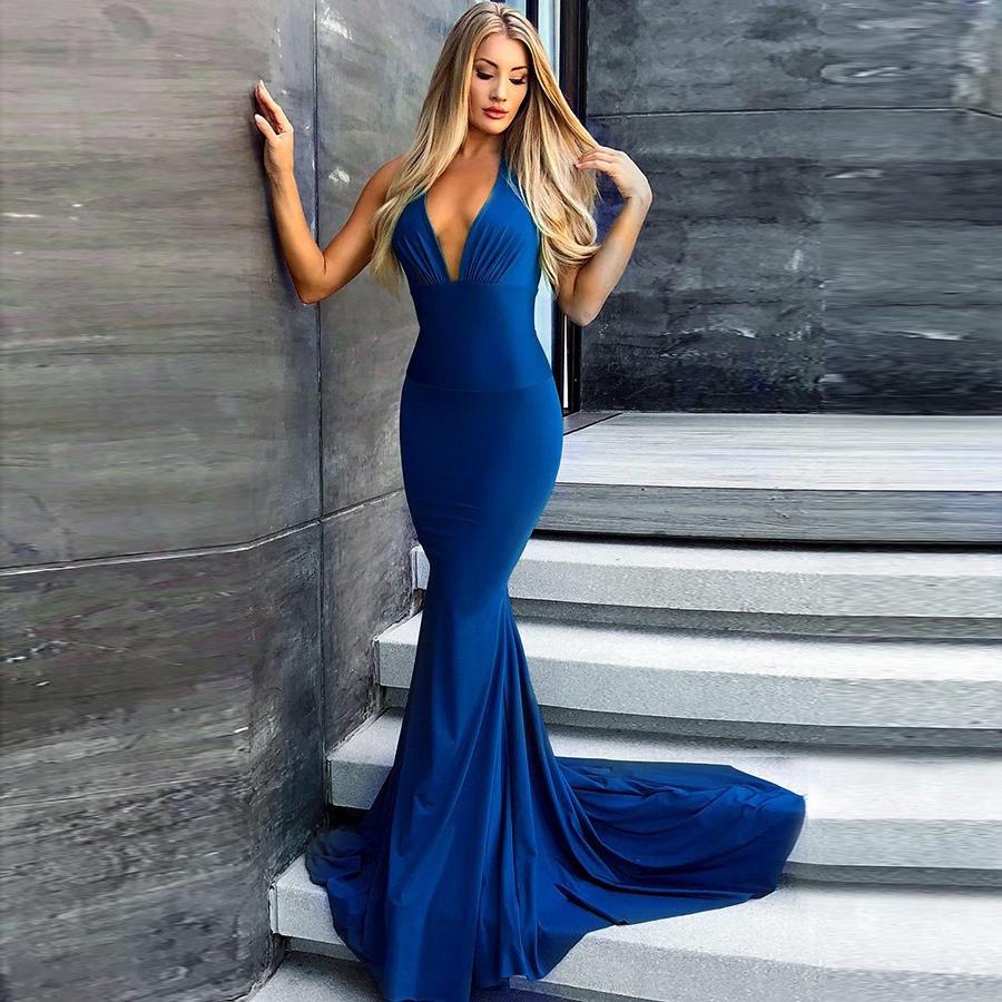 Blue Jersey Prom Dress