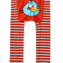 Red Stripe Pants with Blue Angry Bird Inspired Theme Boys Girls Diaper Cover  Legging Pant
