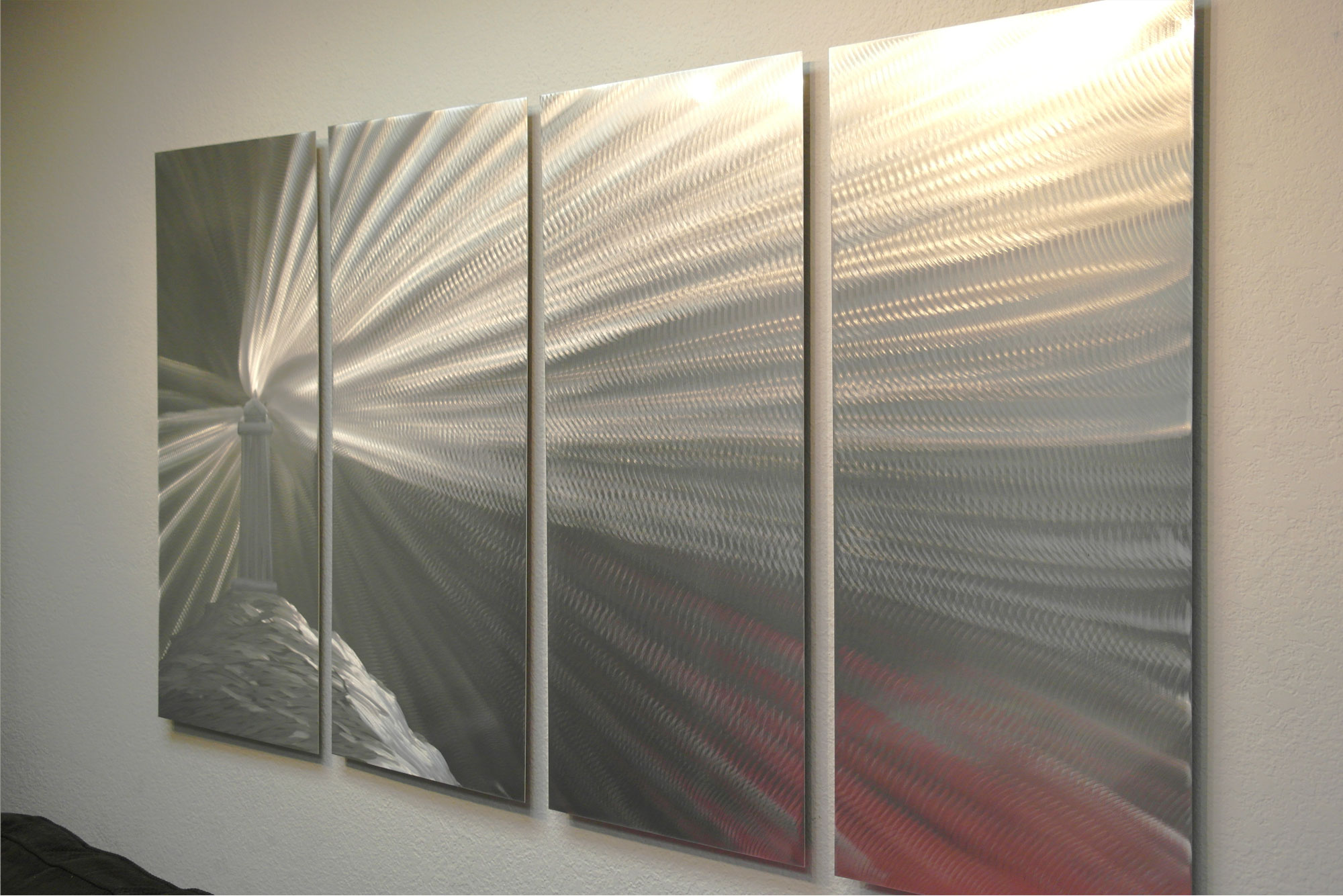 Contemporary Modern Decor Original Lighthouse Silver 36 Abstract Metal Wall Art