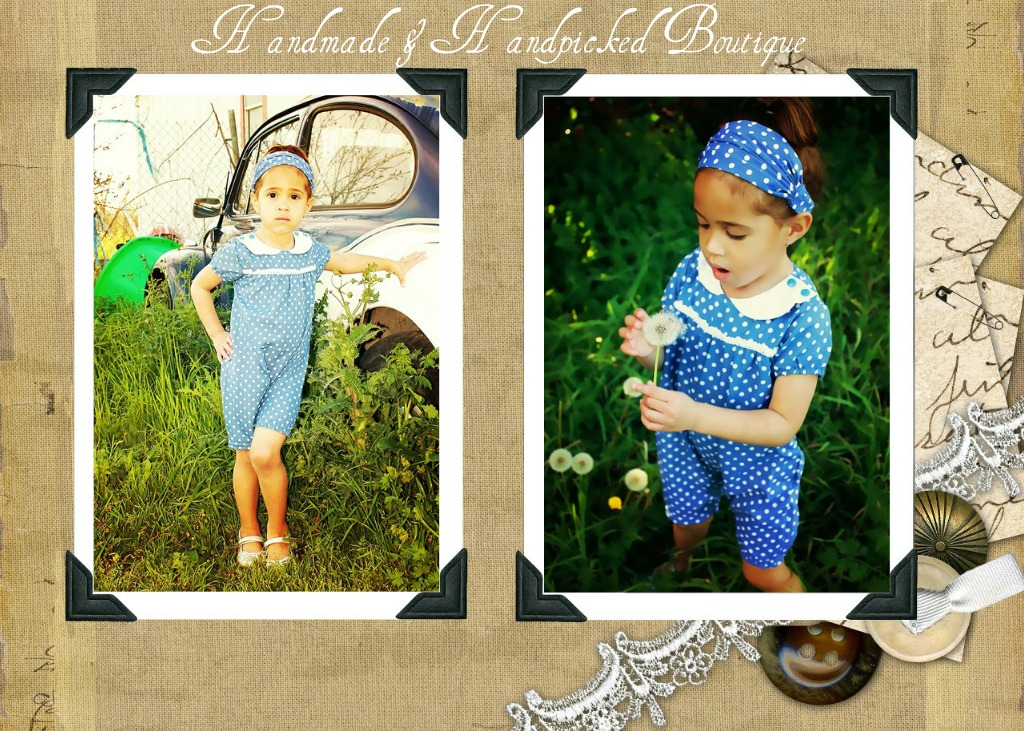 Vintage_blue_romper_with_white_dots_2_piece_set_outfit_sold_by_handmade_handpicked_boutique_modelled_by_kamdyn_of_oleoo_models_collage_original