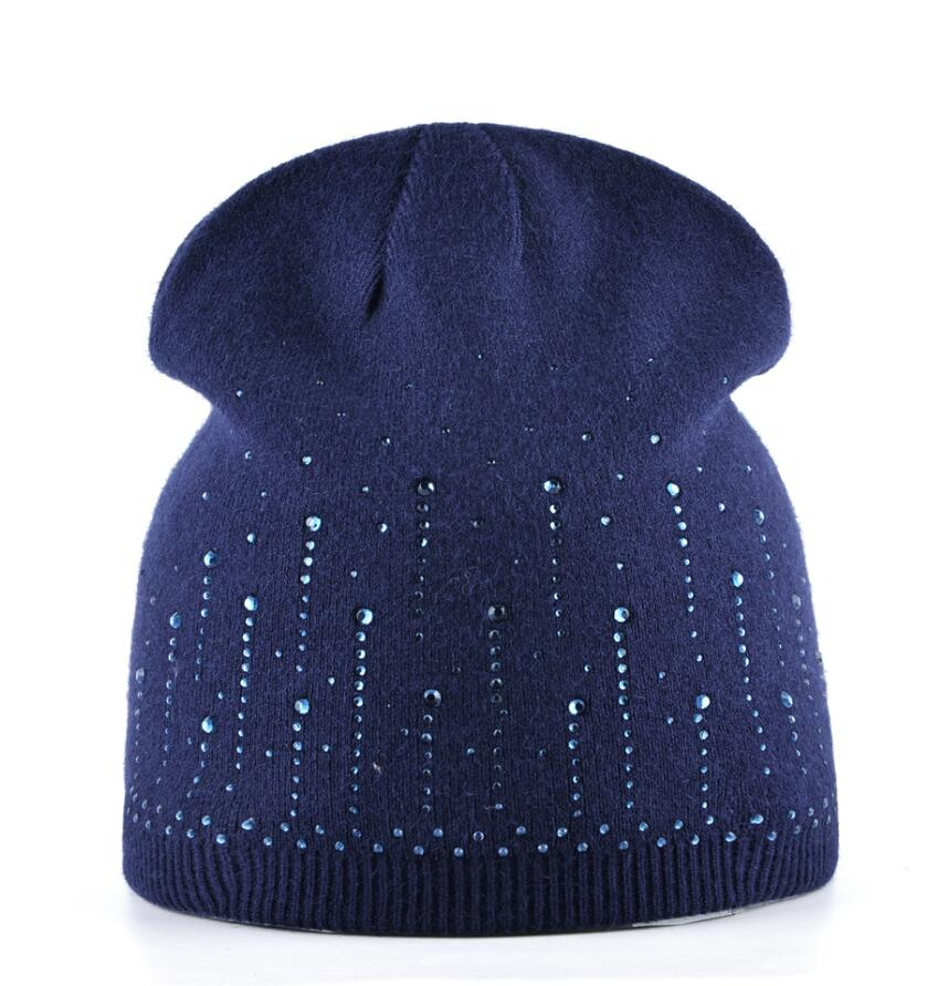 8a77d8d5d24 2018 Female Diamond Beanies Hat Autumn And Winter Knitted Rabbit Wool Cap  Women Rhinestone Knitting Skullies