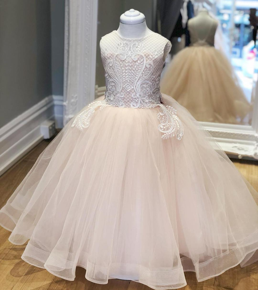 Pink Long Flower Girl Dress With White Lace Modsele Online Store