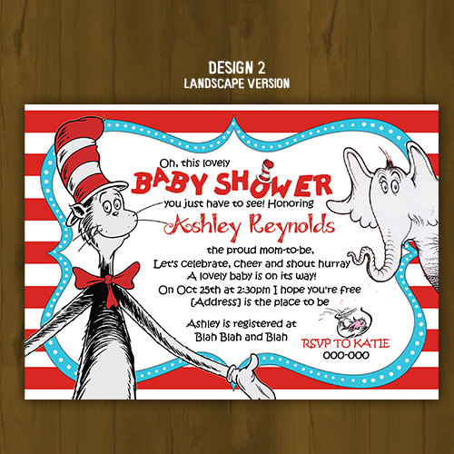 dr. seuss cat in the hat baby shower invitation · splashbox, Baby shower