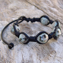 Kiwi Quartz Beaded Black Leather Bracelet