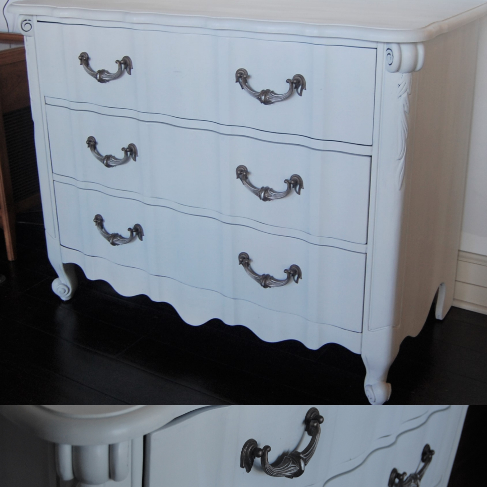 White Three Drawer French Provincial Lowboy Dresser