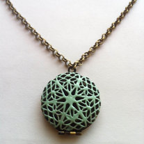 Mint Green & Brass Filigree Locket