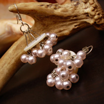 Palest Pink Pearl Cluster Bridal Dangle Earrings