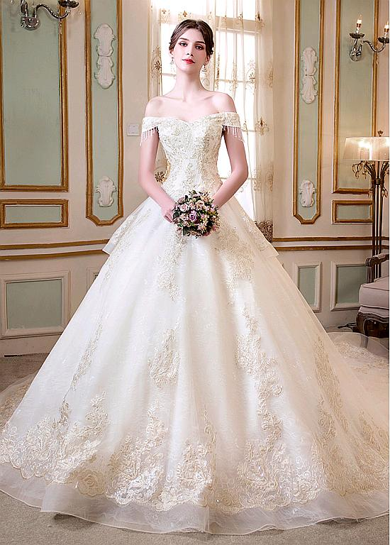 076bc894d3 Modest Tulle   Lace Off-the-shoulder Neckline Ball Gown Wedding Dress With  Beaded