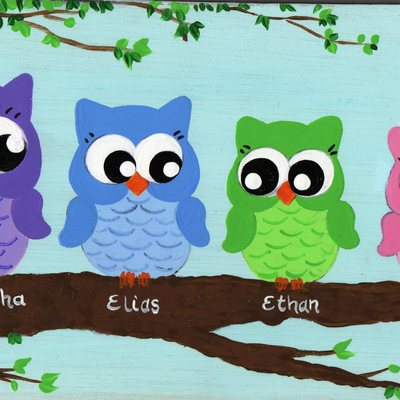"6"" x 18"" owlettes (personalized sign) wall decor"