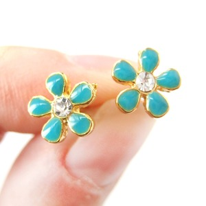 Floral Flower Stud Earrings in Turquoise on Gold with Rhinestones