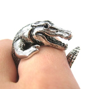 3D Crocodile Dragon Animal Wrap Around Ring in SHINY Silver Sizes 5 to 9