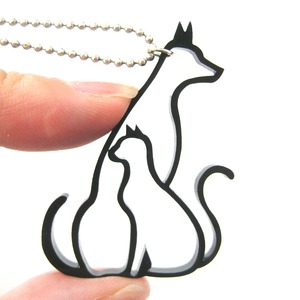 Puppy Dog and Kitty Cat Pet Animal Themed Outline Pendant Necklace
