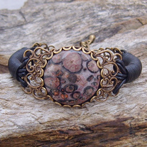 Leopard Skin Jasper and Black Leather Bracelet