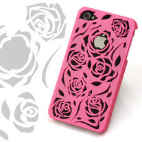 3D Relief Rose Hard Case Cover For iPhone 4, Various Colors