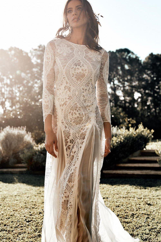 Lisa Lace Backless Boho Wedding Dress   Dreamers and Lovers