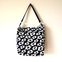 Zippered Hobo - Flower Power in B&W