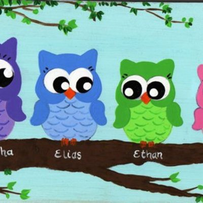 "6"" x 12"" owlettes (personalized sign) wall decor"