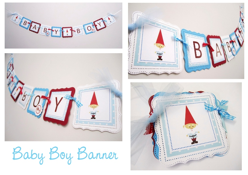 baby boy banner in gnome theme for baby shower or nursery decoration