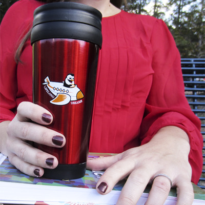 """flying penguin"" travel mug (red)"