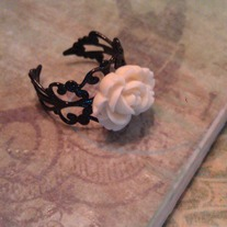 Black Filigree Cream Rose Ring