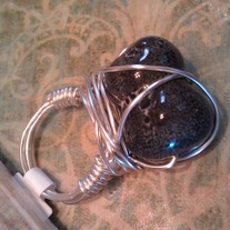 Black Spotted Wire Wrap Ring