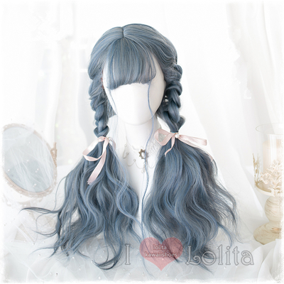 Japanese fashion harajuku kawaii double colors long curly wigs daily wigs lk19041712