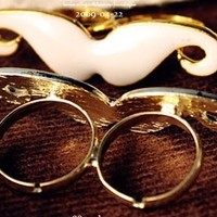 Vintage Adjustable Mustache Double Ring - Thumbnail 2