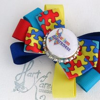 "Multi Layer Tuxedo Bow ""Autism Awareness"""