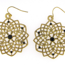 Burnished Gold Black Crystal Earrings
