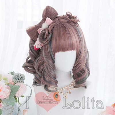 Japanese fashion harajuku kawaii double colors short curly wigs daily wigs lk19052814