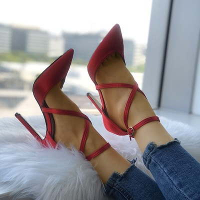 Solid strappy buckle pointed toe heels g-2968