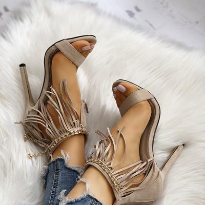 Tassel chain embellished heeled sandals g-2970