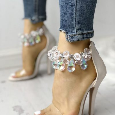 Clear design shiny ankle heeled thin sandals g-2977