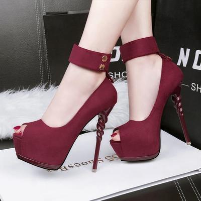 Ankle band wrap peep toe platform stiletto high heels g-2986