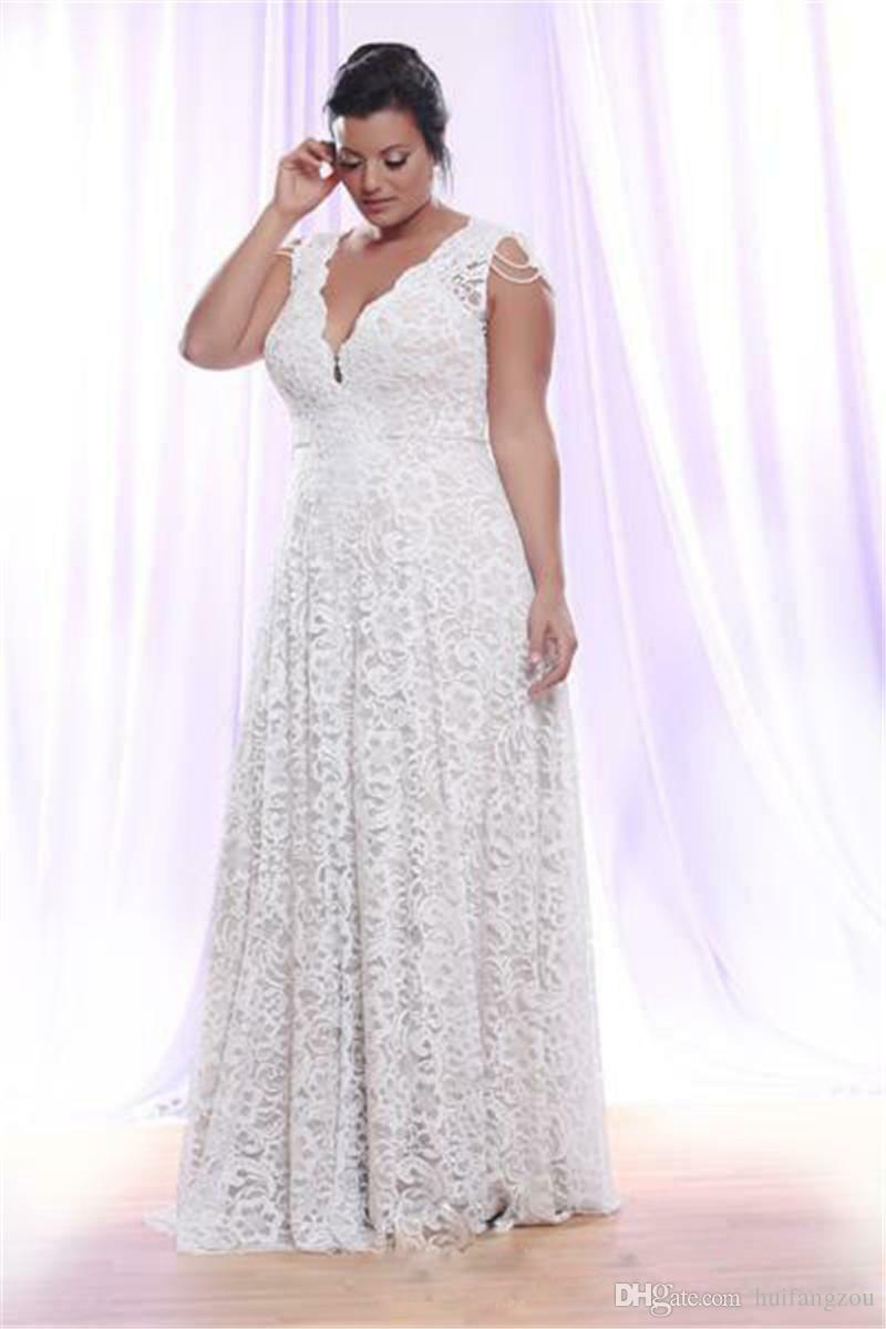 Sale Plus Size Beaded Cap Sleeve Lace V Neck Wedding Dress \