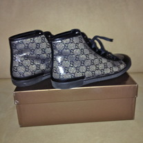 Crystal And Black High Top Gucci Tennis Shoes Size US 9