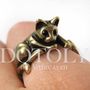 Miniature Kitty Cat Relaxing Ring in Bronze Sizes 5 to 9 Available